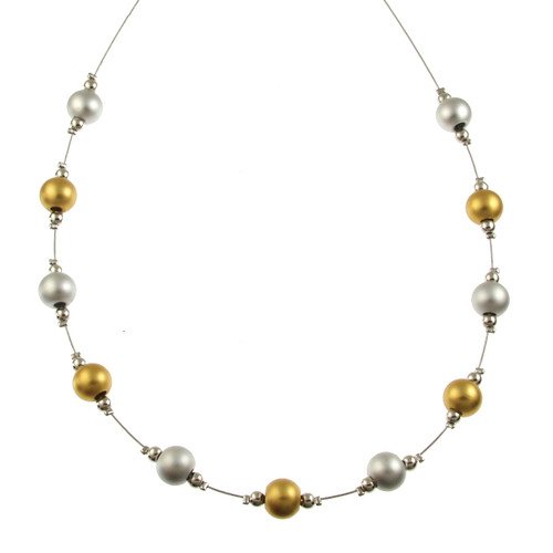 5143-1 - RHODIUM/MATTE SILVER/GOLD NECKLACE