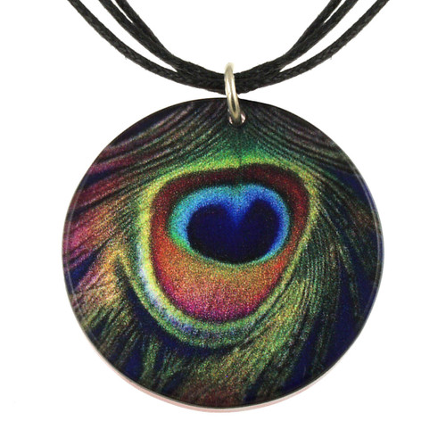 14130-62 -  Upcycled Peacock Pendant on Cord