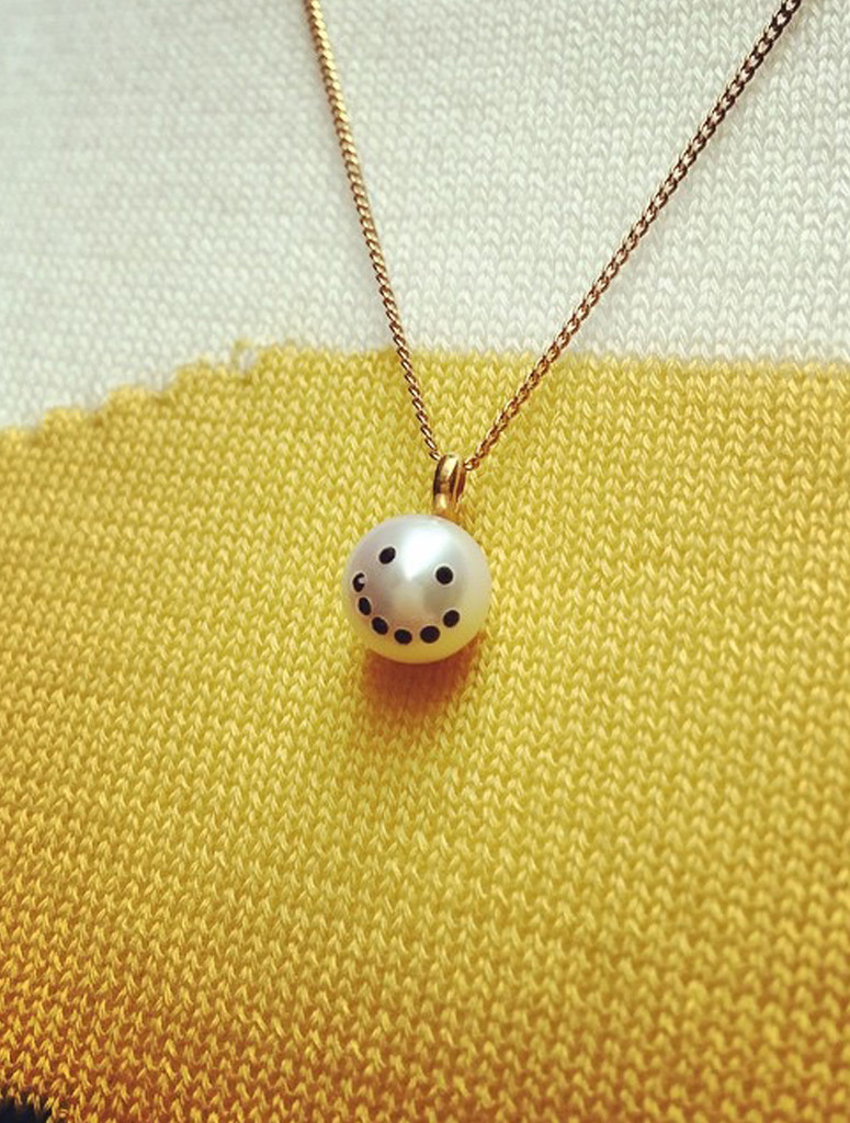 A Jewelry Design Staple. Cultured Freshwater Pearl Charm Pendant Necklace with Smiley Emoji Diamond Pave and 14k Gold Chain by Nektar De Stagni.