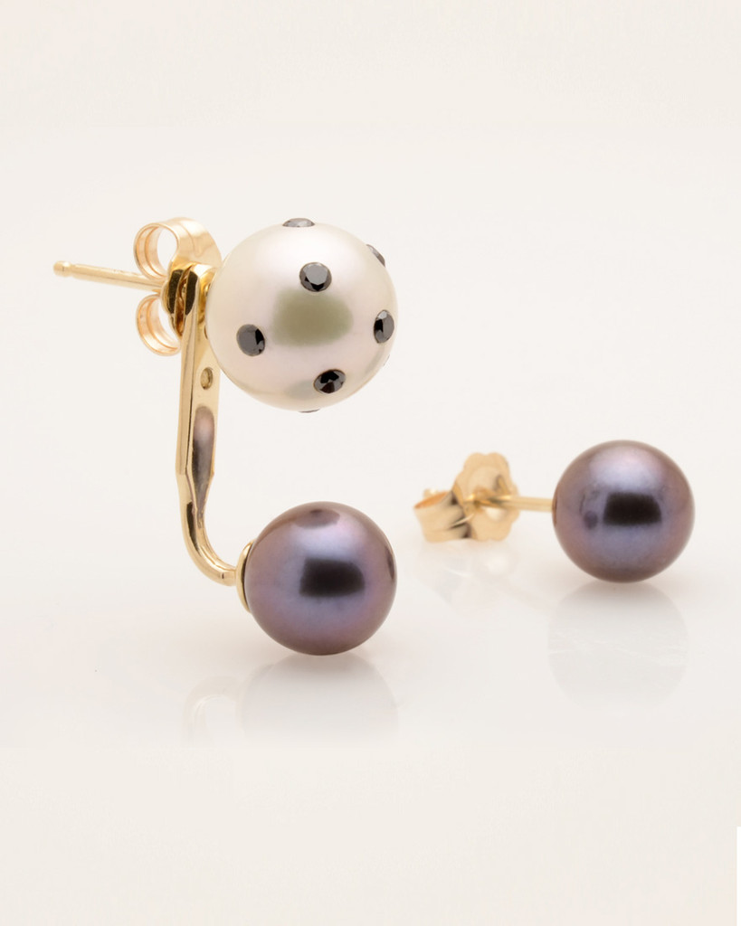 Cultured Double White and Black Pearl Earring with LadyBug Diamond by Nektar De Stagni.