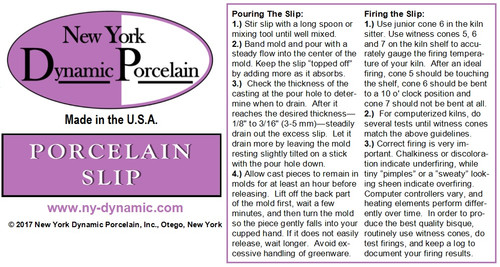 PORCELAIN SLIP -- 3-LITER BAGS (ONLY FOR PICKUPS OR LARGE ORDERS SHIPPING BY PRIVATE FREIGHT)