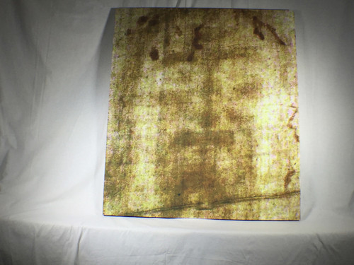 Shroud of Turin Full Size Face Sepia on Linen Cloth 3 x 3 feet with wood frame
