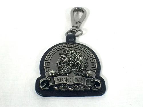 Arnoldus Antique Silver Metal Black Leather Quick Connect Keychain