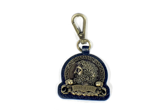 Arnoldus Antique Gold Metal Black Leather Quick Connect Keychain