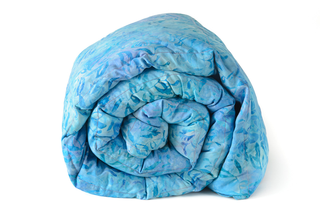 Weighted sensory and sleep blankets weighted blanket blue batik with purple back cotton weighted blanket nvjuhfo Image collections