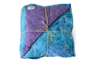 Blue Batik with purple back Cotton weighted blanket