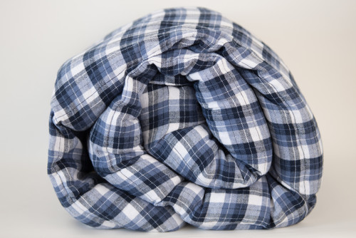 Brushed Denim Plaid Cotton Weighted Blanket