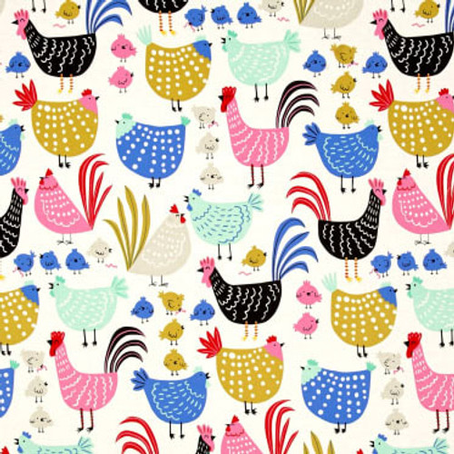 Cluck Cluck Chickens on cream or black 100% Cotton weighted blanket