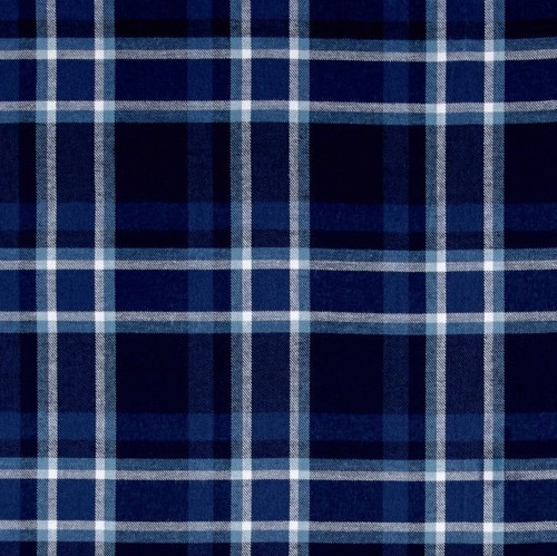 Comfortable Blue 100%  Cotton Plaid Weighted Blanket
