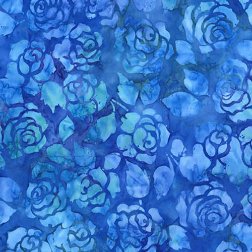 Blue Roses Batik 100% Cotton Weighted Blanket