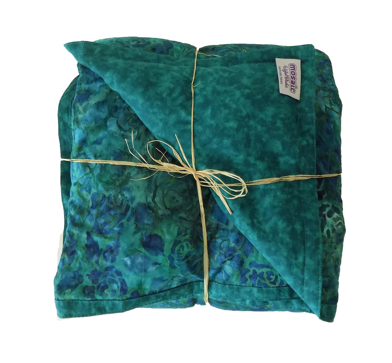 Green Roses Batik Weighted Blanket