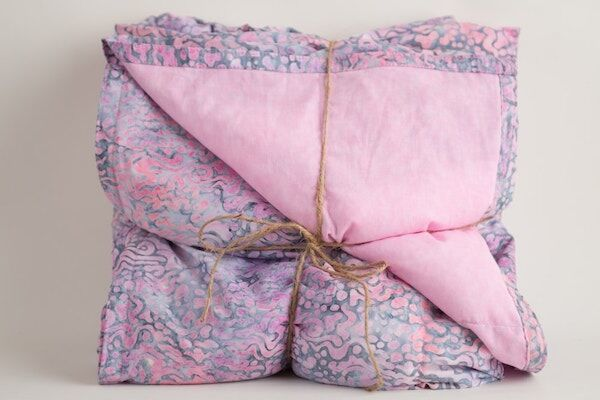 Grey & Pink Batik Weighted Blanket