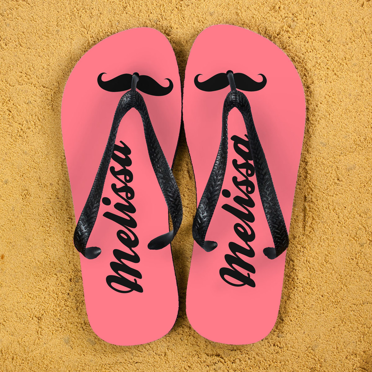 768d35affc6ad Moustache feature flipflops! Can be personalised with a name The straps and  soles of the