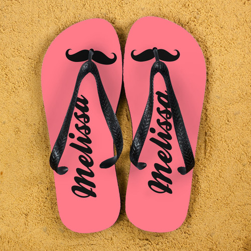 c1b7fb96b2403 Moustache Style Personalised Flip Flops in Grey and Orange ...