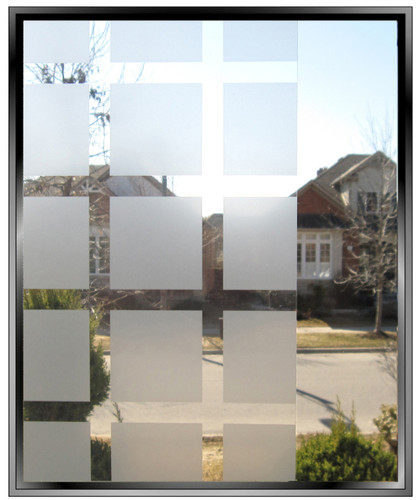 "Geometric 1.75"" Frosted Squares - DIY Decorative Privacy Window Film"