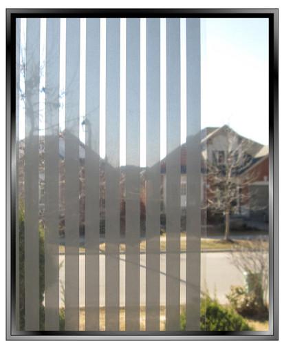 Geometric 3/8th Inch Silver Vertical Stripes - DIY Decorative Window Film
