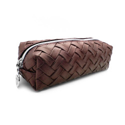 W7 Weaved Slim Cosmetics Case - Burgundy