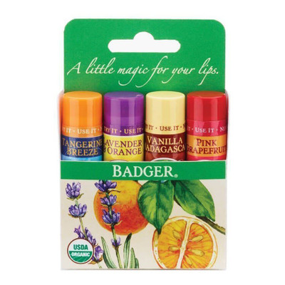 Badger Classic Lip Balm - 4 Stick Set (Green)