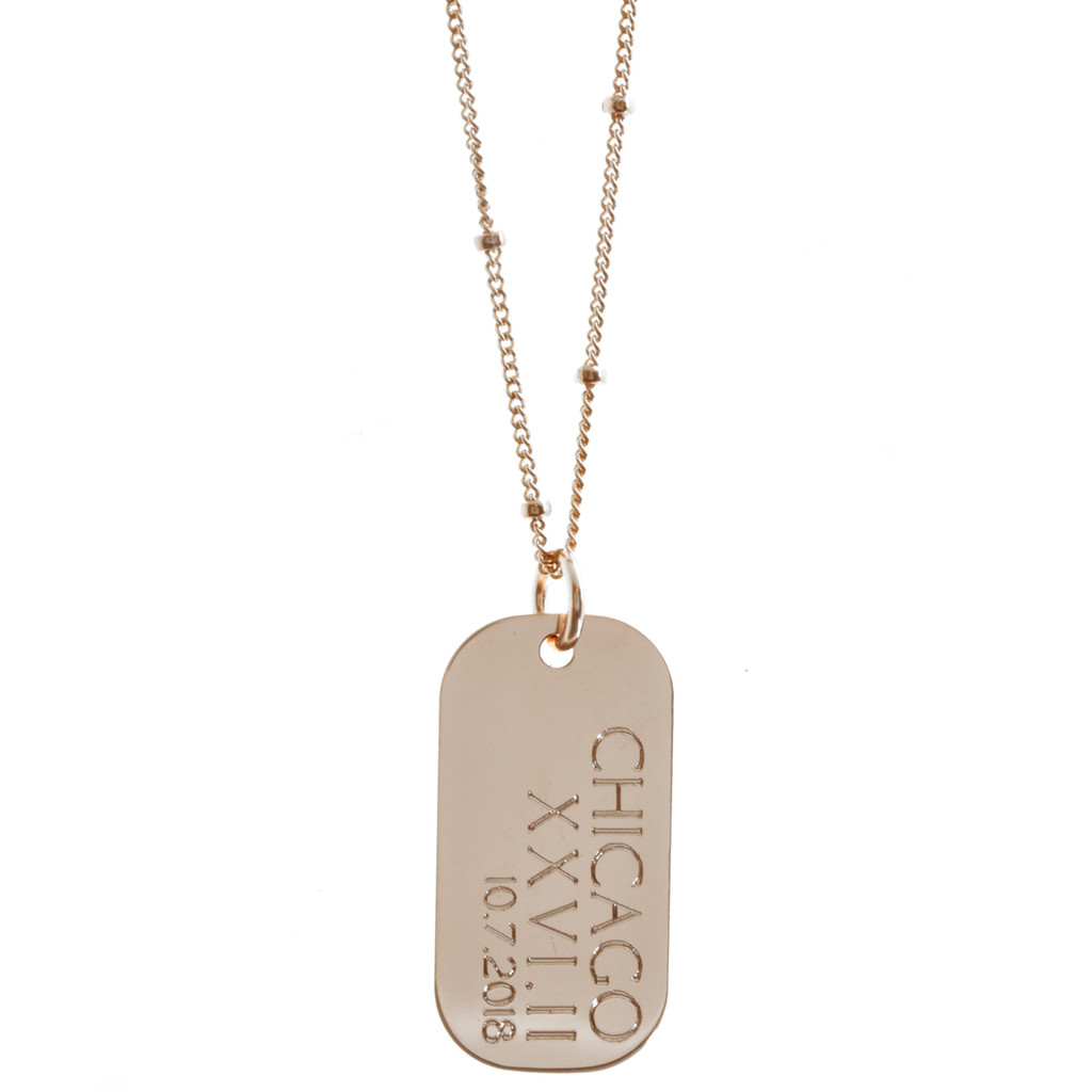 Custom City Race Necklace. Shown here: Chicago Marathon 10.7.2018 in rosegold on fine cable chain, roman font.