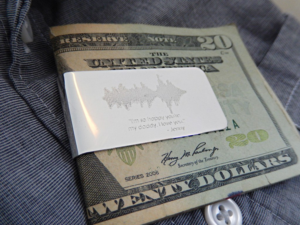 Sterling Silver Custom Soundwaves Money Clip