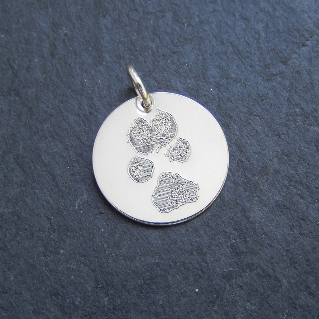 Sterling Silver Custom Engraved Pawprint