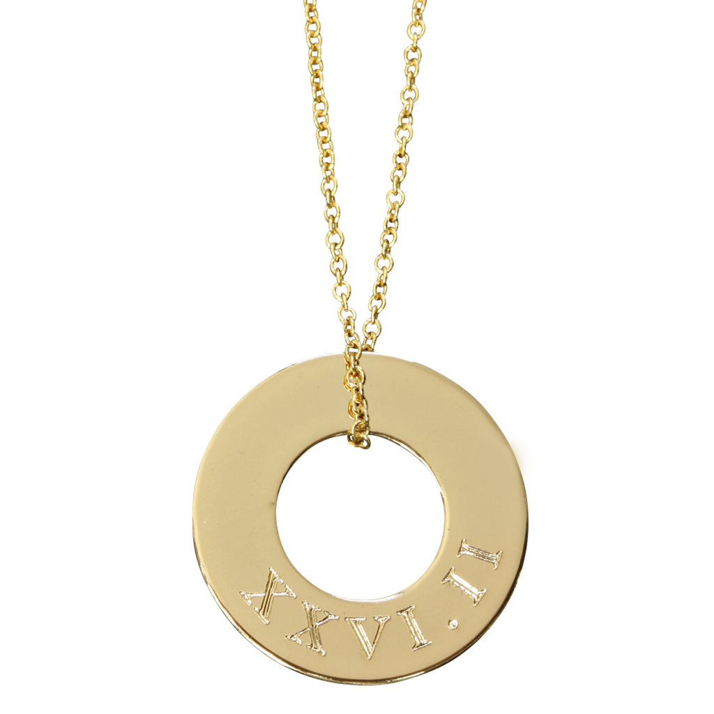 Gold fill. Fine cable chain. 26.2 in Roman Numeral.