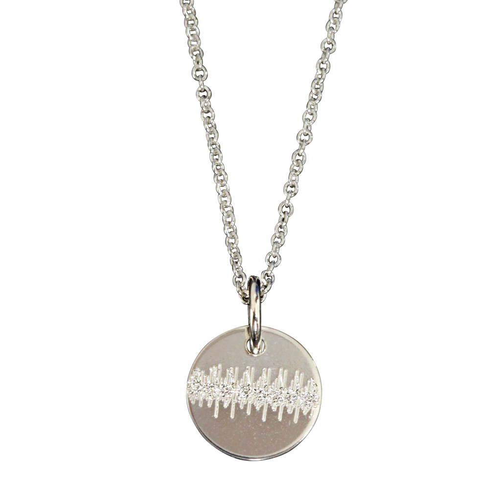 Custom engraved soundwave necklace. Sterling silver. Fine cable chain.