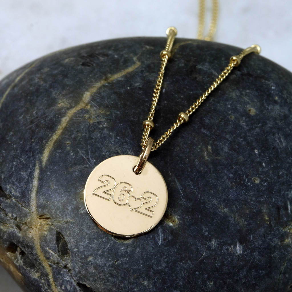 26.2 With Heart Necklace. Gold fill. Satellite Chain.