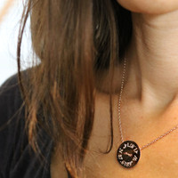 Coordinates Button Necklace. Chicago marathon finish line coordinates in rose gold shown here.