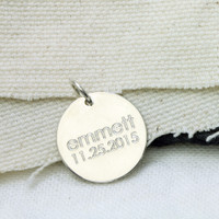 Sterling Silver Baby's Birthdate Charm. Century font.