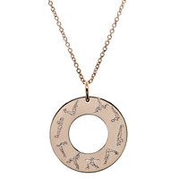 Warrior engraved washer necklace. Rose gold fill. Fine cable chain.