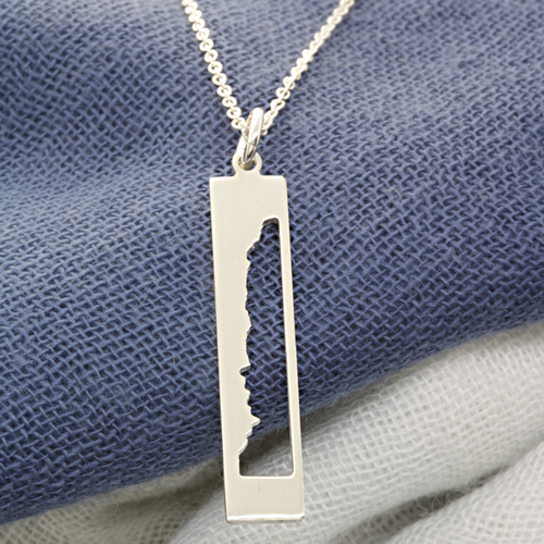 Handcrafted Boston Marathon elevation profile necklace. Sterlings silver.