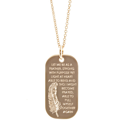 Be As A Feather Tag Necklace. Shown in Rosegold on Fine Cable Chain.