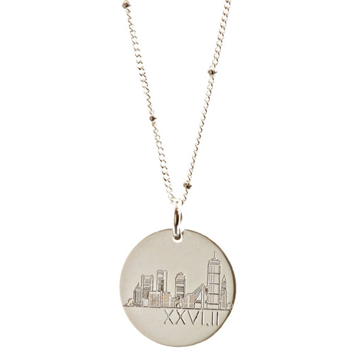 Boston Marathon Skyline Necklace. Sterling silver on satellite chain.