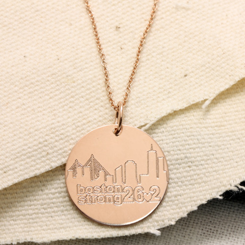 Boston Strong 26.2 Necklace. Rose Gold Fill. Fine Cable Chain.