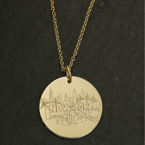 Sarah Marie Design Studio for ESD New York City Marathon Charm. Gold fill on fine cable chain.