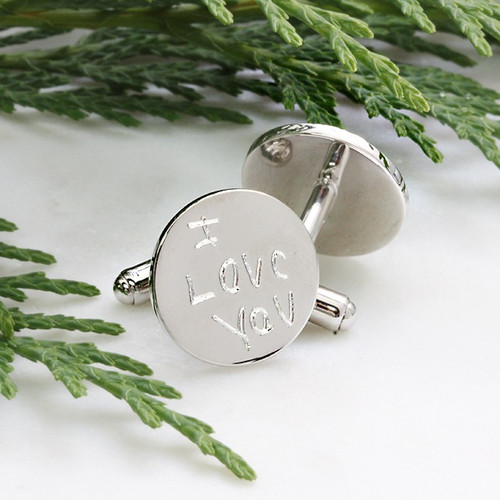 Sterling silver custom handwriting cufflinks.