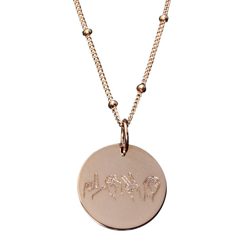 """Rose gold fill. """"love"""" spelled out in ASL letters. Charm on satellite chain."""
