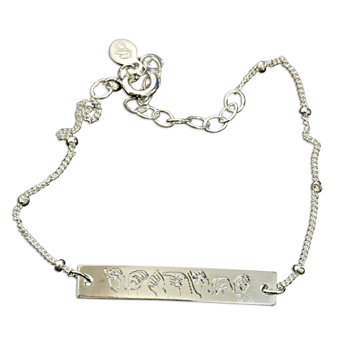 """Sterling Silver. """"imagine"""" spelled out in ASL letters"""