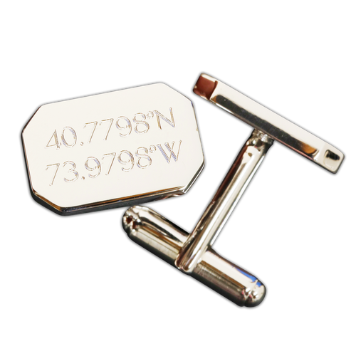 Custom engraved coordinates cufflinks. Sterling silver.