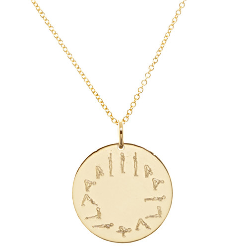 Sun salutation engraved necklace. Gold fill. Fine cable chain.