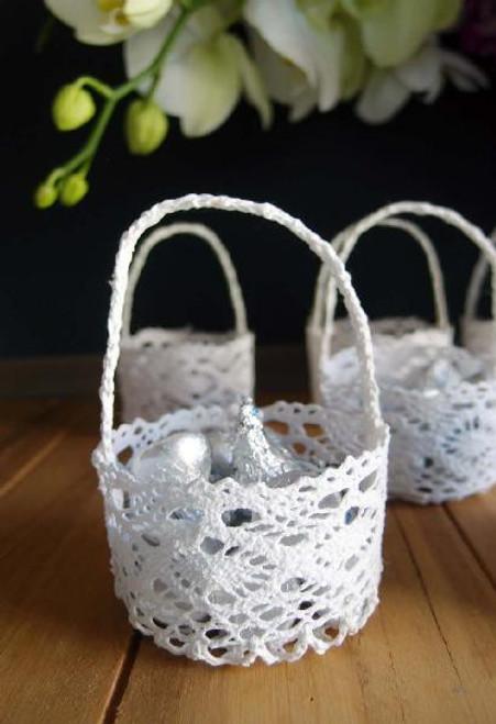 Mini Lace Favor Baskets Round Wholesale Lace Baskets Packaging Decor