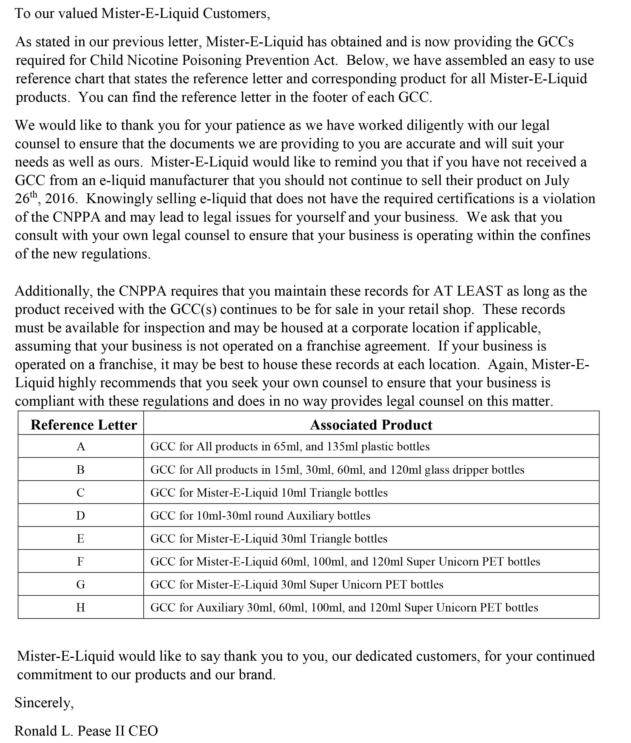 GCC Letter