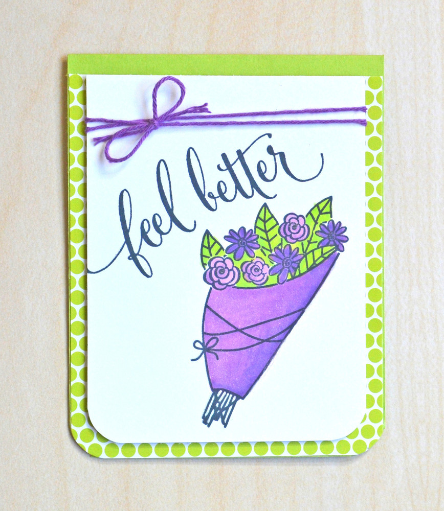 By Jamie Gracz for Avery Elle Inc. Get Well clear stamps.  The Sorbet Collection Patterned Paper.  The Lucky Collection Note Cards.