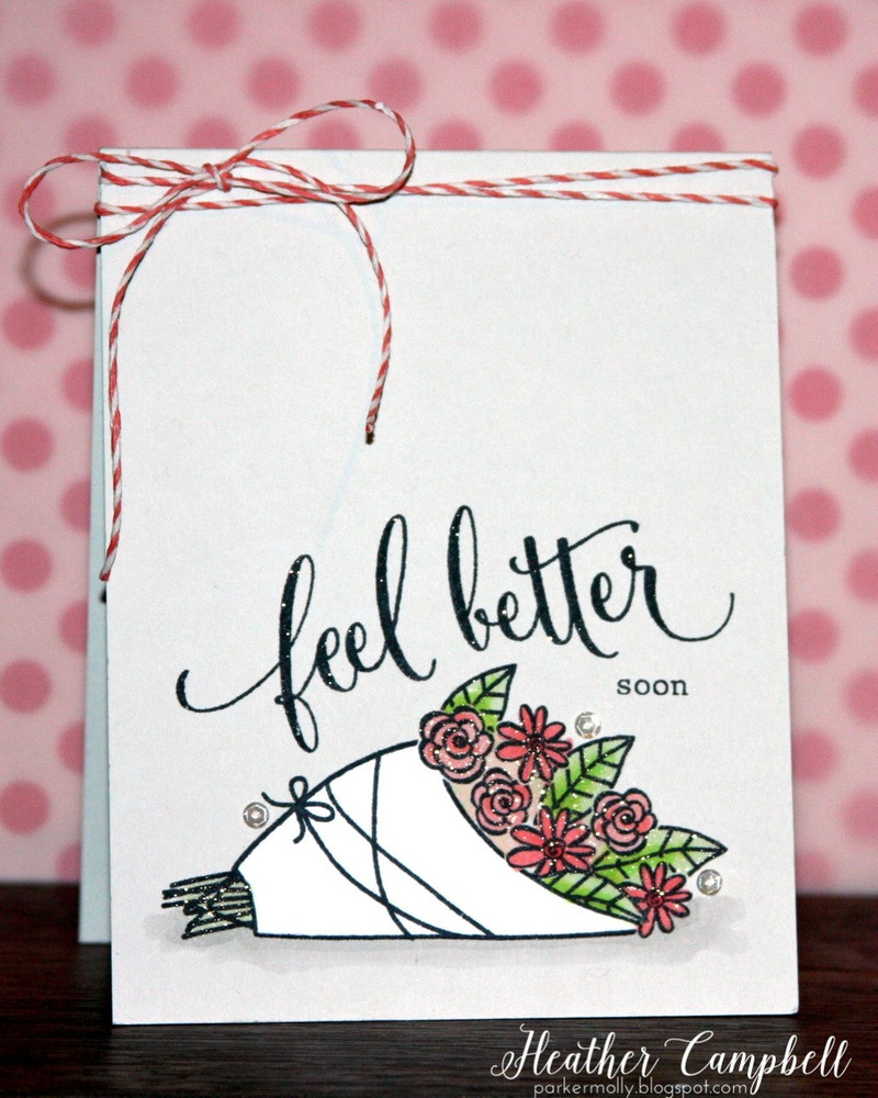 By Heather Campbell for Avery Elle Inc. Get Well clear stamps.  The Midnight Collection Note Cards.