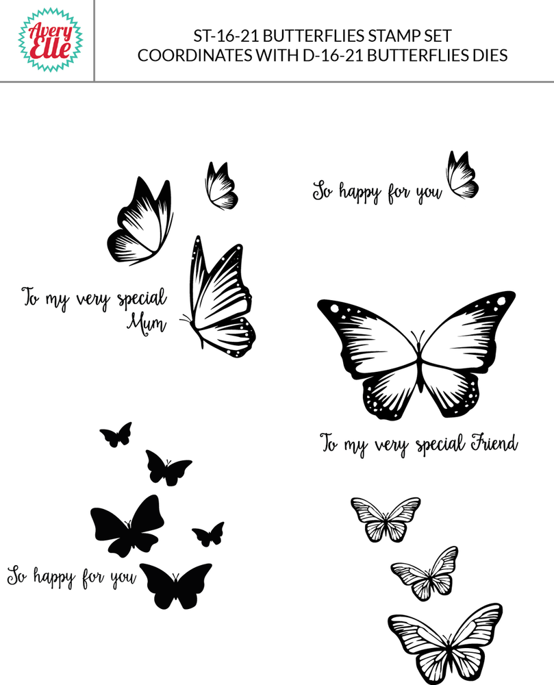 Butterflies Clear Stamps & Dies