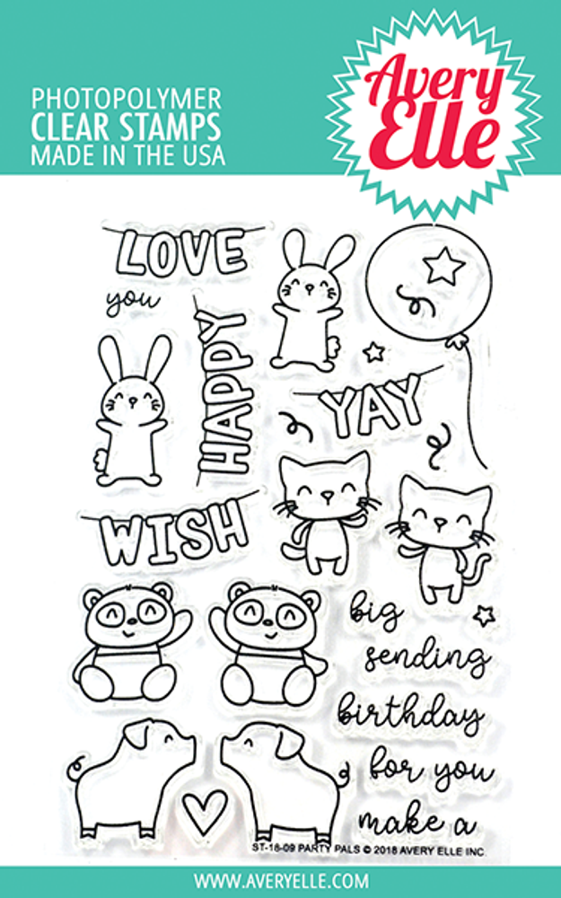 Avery Elle Party Pals Clear Stamps