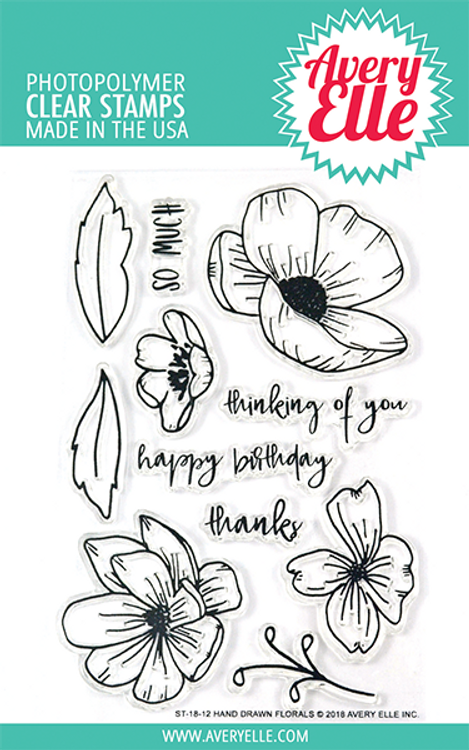 Avery Elle Hand Drawn Florals Clear Stamps