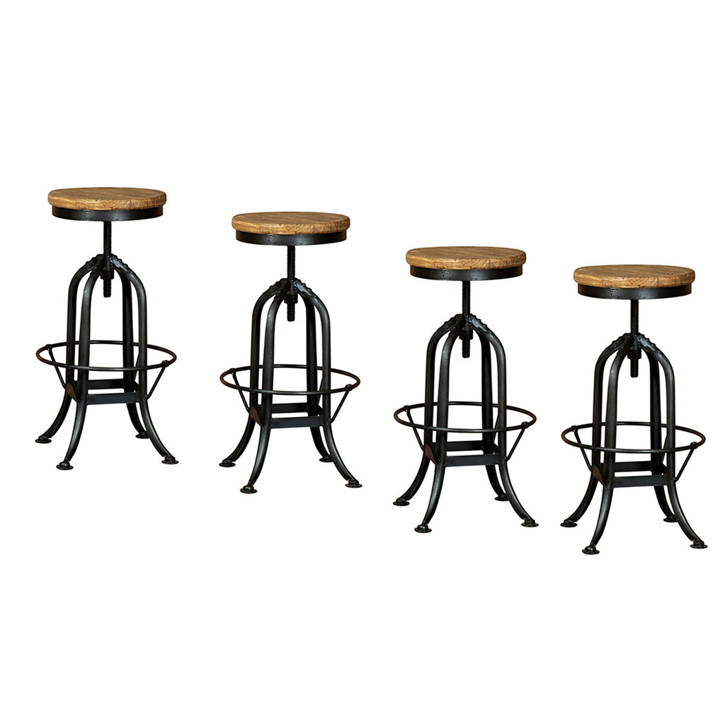 BAR STOOL ADJUSTABLE INDUSTRIAL SET OF 4