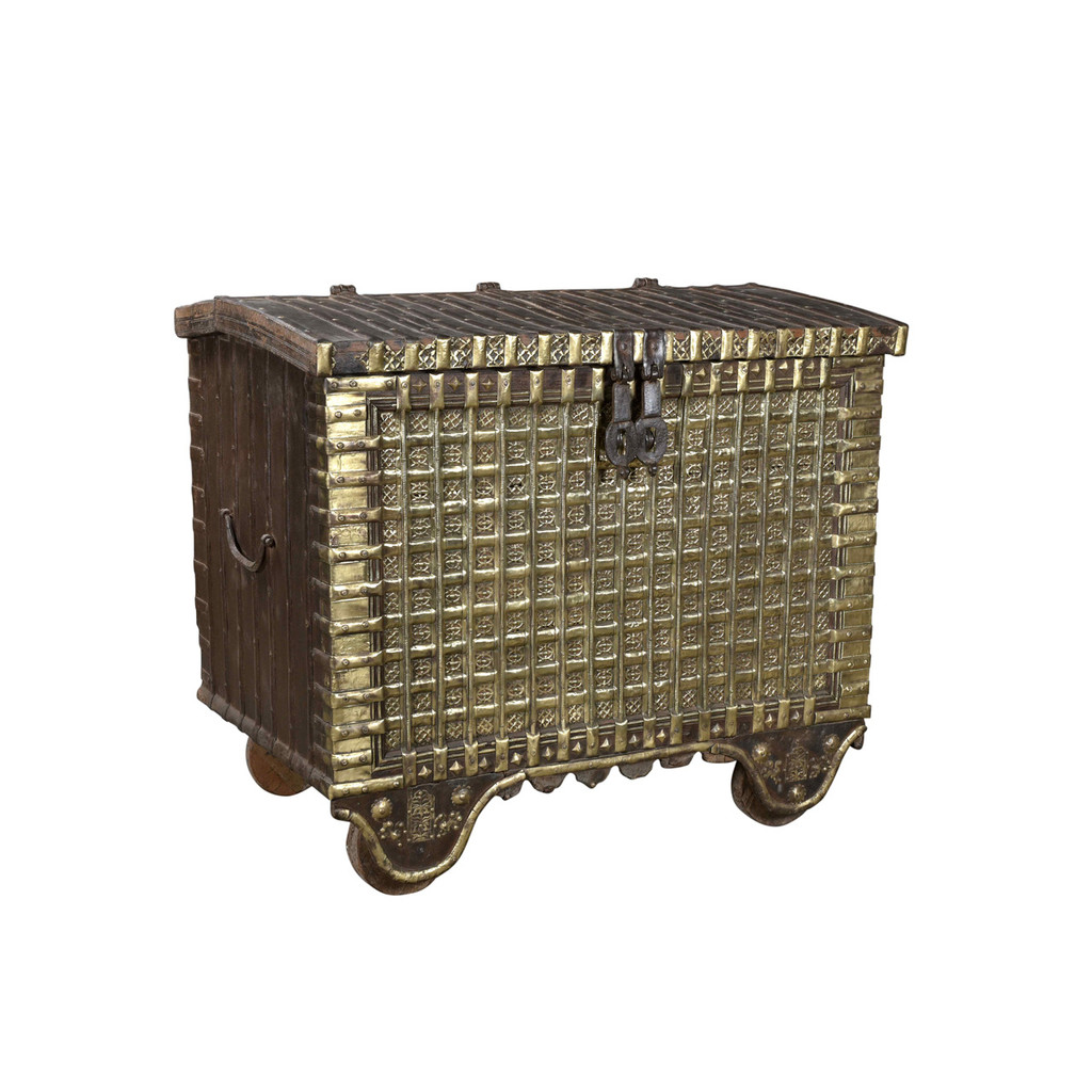 CHEST OLD WITH BRASS WORK (JT183)